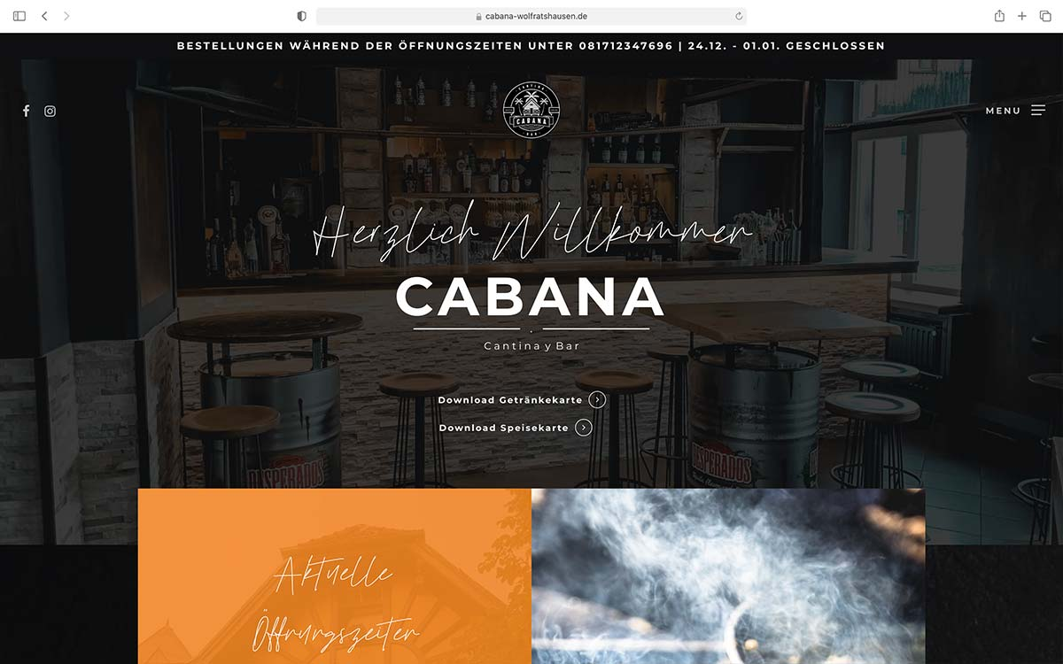 Webdesign Cabana Cantina y Bar Wolfratshausen |Jess Creation
